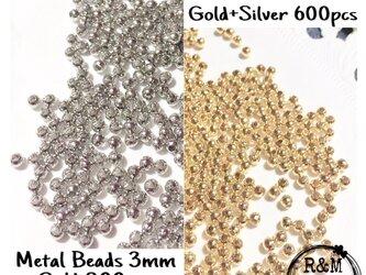 【043】メタルビーズ スペーサー ビーズ 3mm ゴールド シルバーの画像