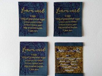 【商用可】Lemon Curd 織ネーム 毛緑(ブルーグリーン系)×紫×金ラメ 刺繍タグ ネームタグの画像