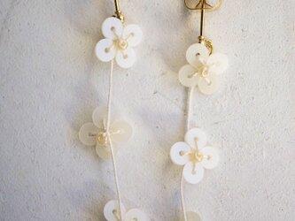 小花ピアス オフホワイト Small flower pierce off whiteの画像