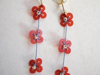 小花ピアス レッド Small flower pierce ledの画像