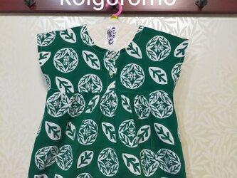 こひごろも☆手ぬぐいワンピース#100サイズ【葉の茶・緑×スモークブルー】の画像