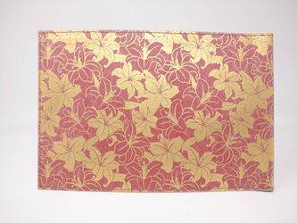 ギルディング和紙ブックカバー 百合 赤地 金箔の画像