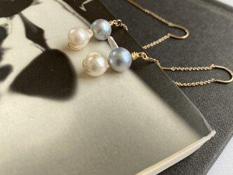 14KGFアコヤバロックパールU字アメリカンチェーンピアスUnique Pearlsの画像