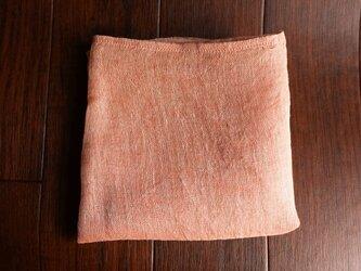 Decoオリジナル 上質リネン シングルガーゼのハンカチ/スカーフ サーモンピンク×亜麻色の画像