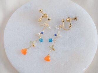 partý poppari earring:カーネリアン×ハーキマーダイヤモンド×アパタイト 天然石ピアス・イヤリングの画像
