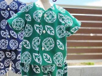 手ぬぐいシャツ&ブルマ#90サイズ【葉の茶・緑】の画像