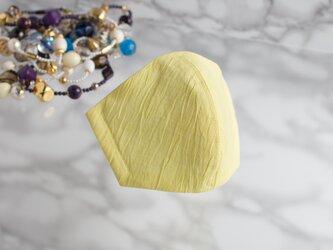 PSNY 送料無料 リネン イエロー 花粉 黄砂 不織布フィルター入り 立体 大人用 マスク クレープ・レモン-P06の画像