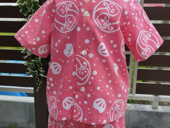 手ぬぐいシャツ&ブルマ#110サイズ【茶の実・ピンク×アップルグリーン】の画像