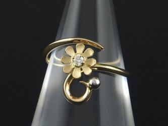 曲線に花と粒の指輪 106Rの画像