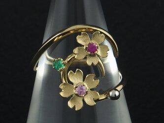 曲線に桜と粒の指輪 104Rの画像