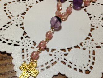 Mu_022★チェリークォーツのロザリオ風ネックレスの画像