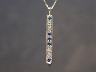 〖受注製作〗K10YG ブルーサファイア×ダイヤモンドミルペンダントの画像