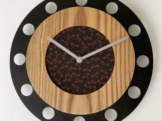 甲州印伝クロック/feeLife clock model 01:とんぼ黒/赤 No.01022の画像