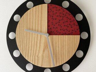 甲州印伝クロック/feeLife clock model 02:とんぼ赤/黒 No.02010の画像