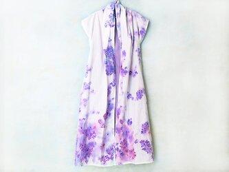 ガーゼはおり【紫陽花】手描き一点もの ロング丈の画像