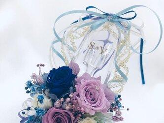 【プリザーブドフラワー/ガラスの靴ミニシリーズ】パープルと青い薔薇のフラワーシューズの画像