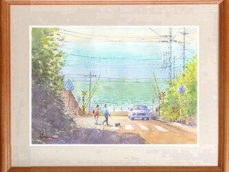 水彩画原画 湘南の海・鎌倉高校前踏切と日坂 #463の画像