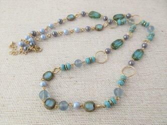Necklace フローライト マグネサイト チェコガラス(N1245)の画像