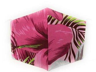 ハワイアン ファブリック ファッション・3Dマスク(扇型) ハイビスカス柄 ピンク・グレー Lサイズの画像