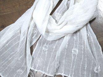 麻 カラミ織り ストールの画像