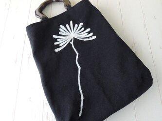 国産帆布のウッドハンドルトートバッグ *ダリア*ブラック* 受注製作の画像