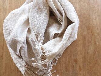 【手織り】生成りのストール#02の画像