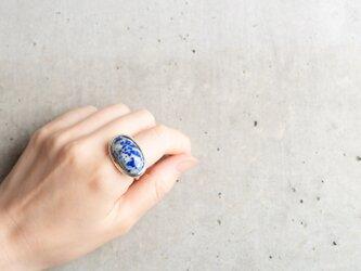 KISSHO 「矢絣」青い陶器のようなラピスラズリ シルバーリングの画像