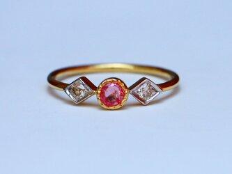 古代スタイル*天然ダイアモンド ルビー 指輪*13号 10k goldの画像