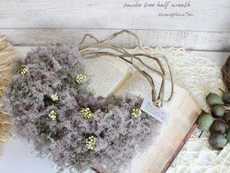 スモークツリー のハーフリース   ドライフラワーリース の画像