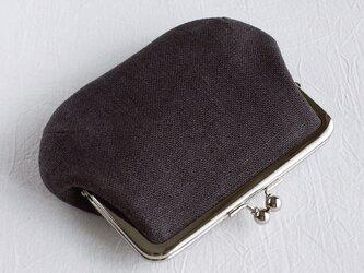 《リネン》カードポケットつき親子がま口(お財布)黒の画像
