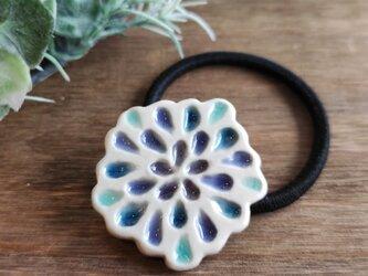 ツヤツヤしずくのヘアゴム【水色】陶器製の画像