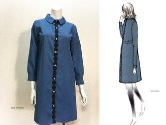 【1点もの・デザイン画付き】ベルト付きシャツ型ブルーワンピース(KOJI TOYODA)の画像