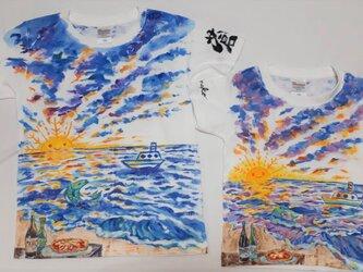 てのひら食堂★ お揃いの夜明け Tシャツ 手描き の画像