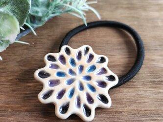 ツヤツヤしずくのヘアゴム【紫】 陶器製 の画像
