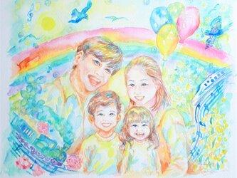 家族の絵 縁起の良い 似顔絵 ファミリー の画像