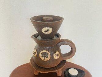 陶器どりっぷセット(森と幸せの鳥ポット)の画像
