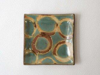 やちむん 板皿小 丸紋 - 緑(山城窯)の画像