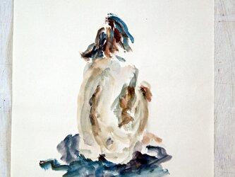 水彩裸婦素描(額無し)の画像
