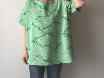 着物リメイクプルオーバー 豆絞りグリーンの画像