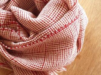【手織り】紬糸とリネンのストールの画像