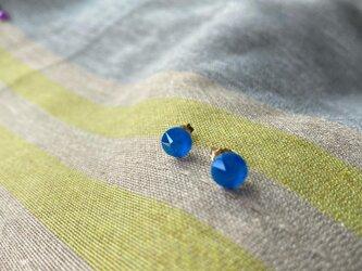 K14GF 青フラットピアス(エレクトリックブルー)の画像