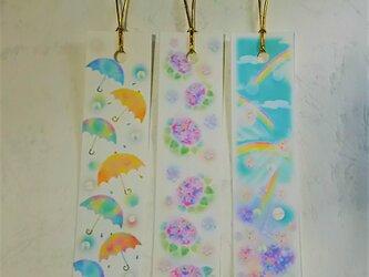 雨傘と紫陽花と虹空の栞(しおり) パステルアートのブックマークの画像