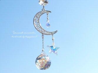 スワロフスキーオーロラのみ使用*星と月のミニサンキャッチャーの画像