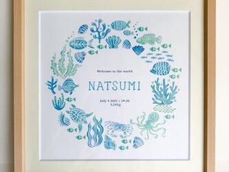 Summer wreath poster / サマーリースポスター〈出産祝に〉の画像