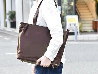 ファスナー付き ビジネスバッグ トートバッグ フォーマル 仕事用 カバン バッグ 仕事用 牛革 ブラウン HAB011の画像