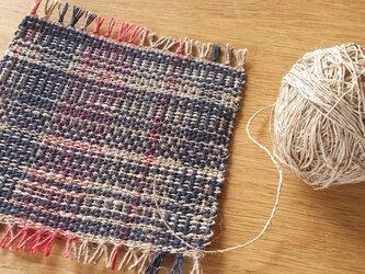 【手織り】アローとリネンのコースター#01の画像