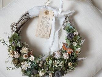 ドライアジサイとアザミのgarden wreath (プリザーブドフラワードライフラワーグリーン アンティーク ギフト)の画像