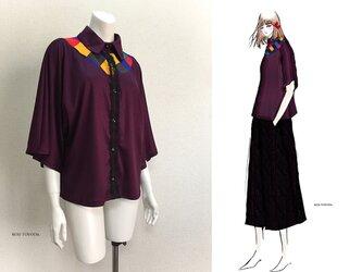 【1点もの・デザイン画付き】ゆったり着物袖アーチ切り替えブラウス(KOJI TOYODA)の画像
