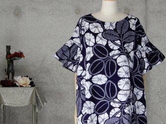 着物リメイク 浴衣ブラウス/フリル袖 注染の画像