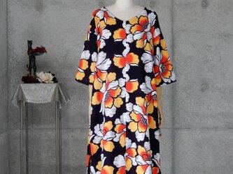 着物リメイク 浴衣のコクーンチュニックワンピ/フリーサイズの画像